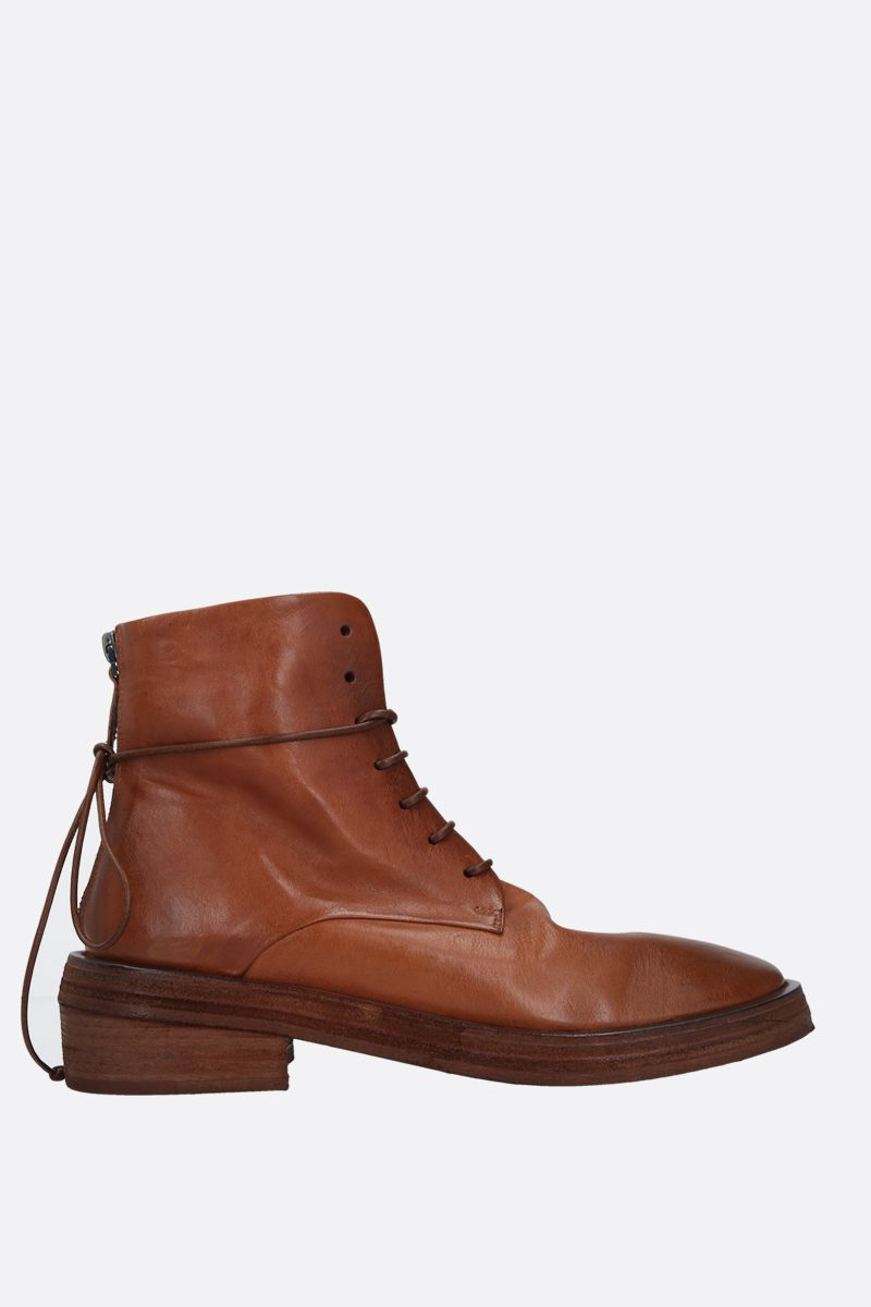 MARSELL: Rilisto vintage-effect leather lace-up boots Color Brown_1