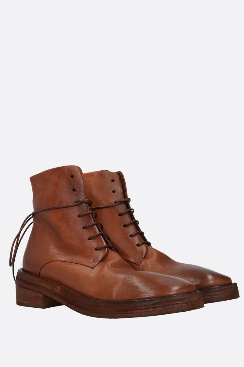 MARSELL: Rilisto vintage-effect leather lace-up boots Color Brown_2