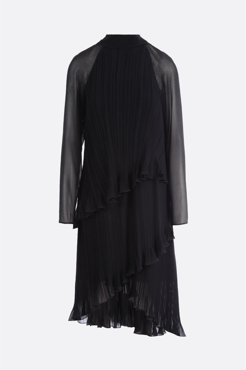 MAX MARA: Nada georgette pleated flounced dress Color Black_1
