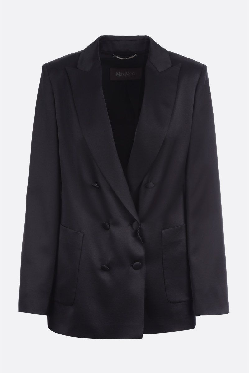MAX MARA: Glauco satin double-breasted jacket Color Black_1
