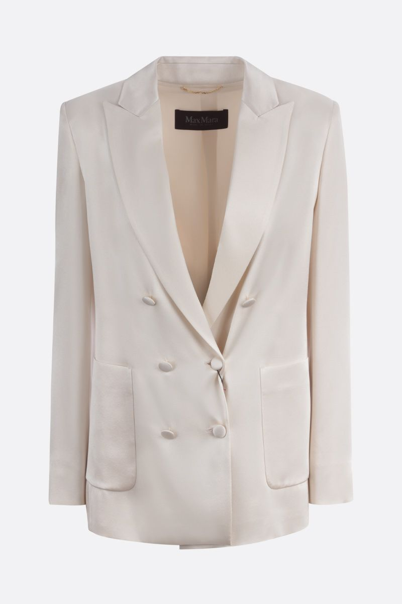 MAX MARA: Glauco satin double-breasted jacket Color Neutral_1