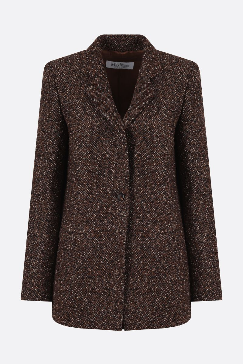 MAX MARA: Giove tweed single-breasted jacket Color Brown_1