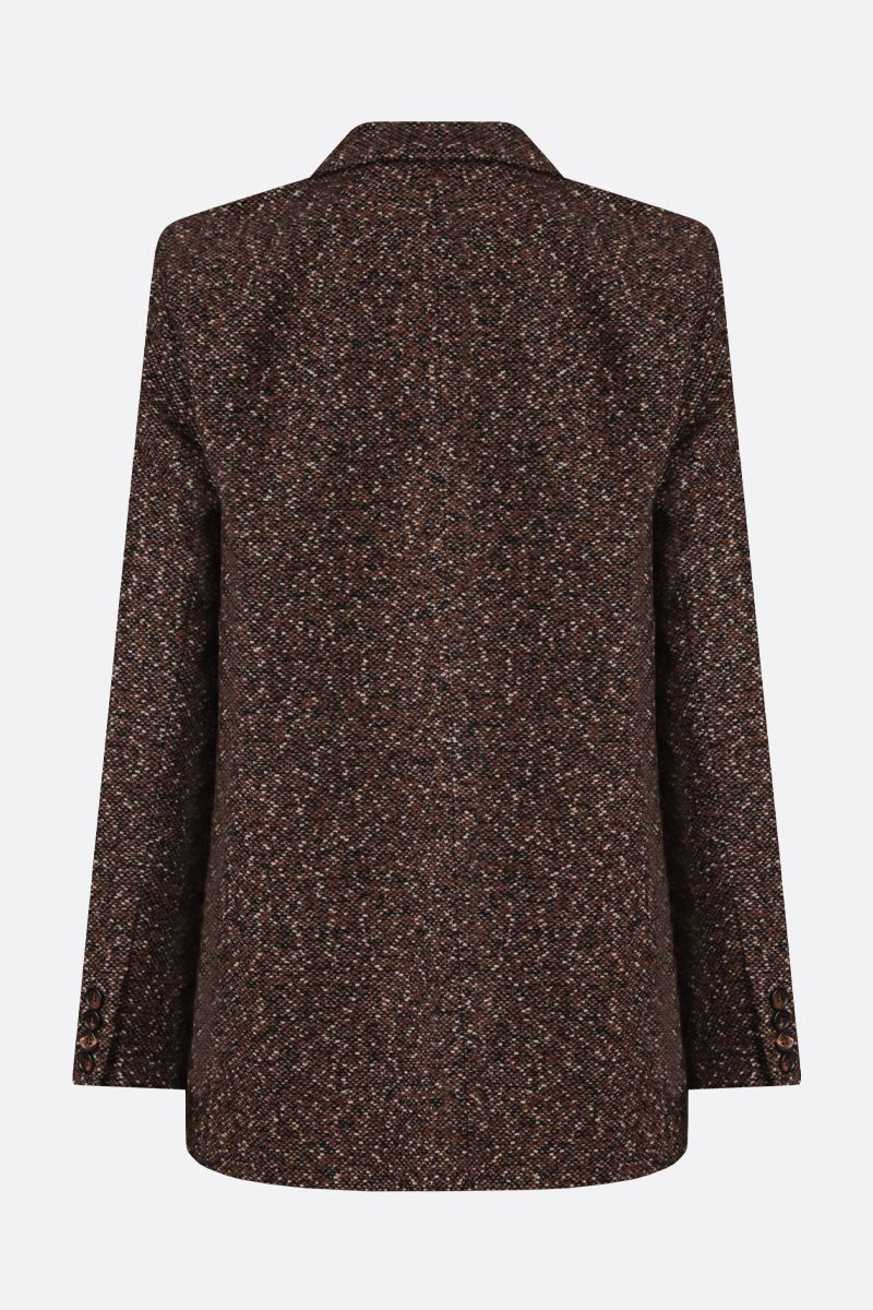 MAX MARA: Giove tweed single-breasted jacket Color Brown_2