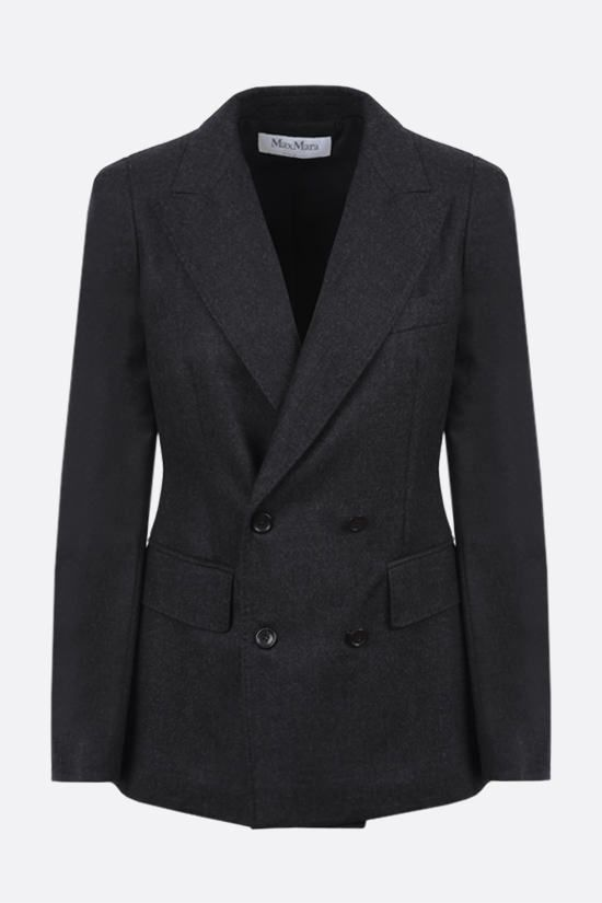 MAX MARA: Oblio double-breasted wool jacket Color Grey_1