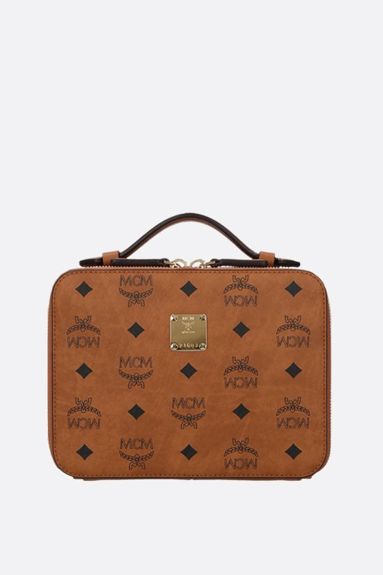 MCM: borsa a tracolla Klassik small in canvas resinato Colore Marrone_1