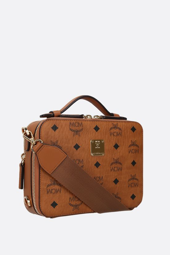 MCM: borsa a tracolla Klassik small in canvas resinato Colore Marrone_2