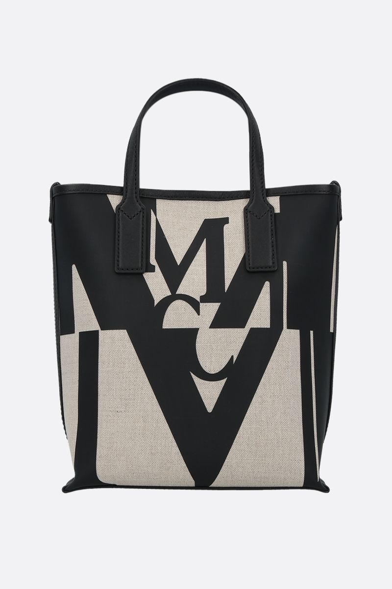 MCM: Glitch logo print canvas mini tote bag Color Black_1
