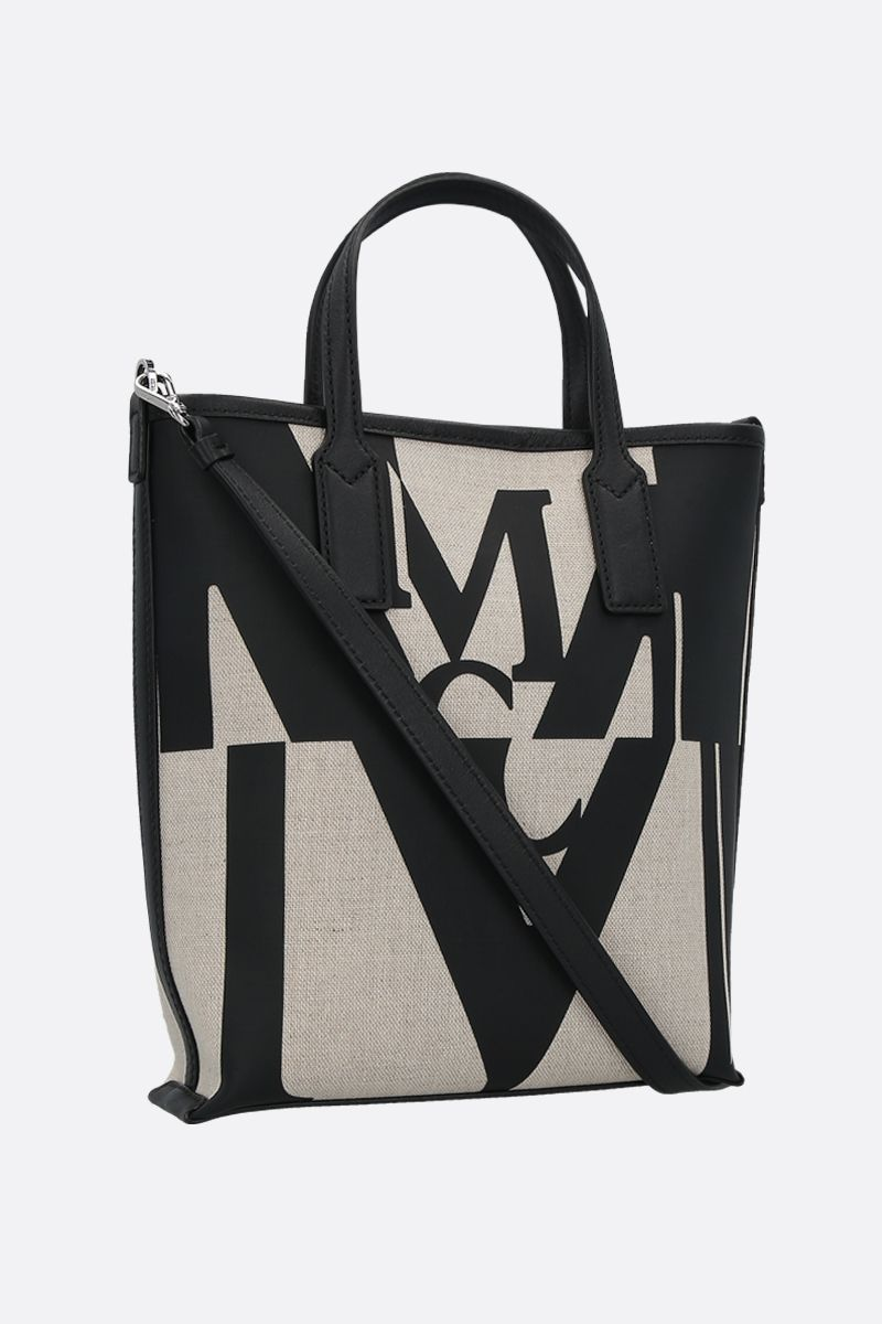 MCM: Glitch logo print canvas mini tote bag Color Black_2