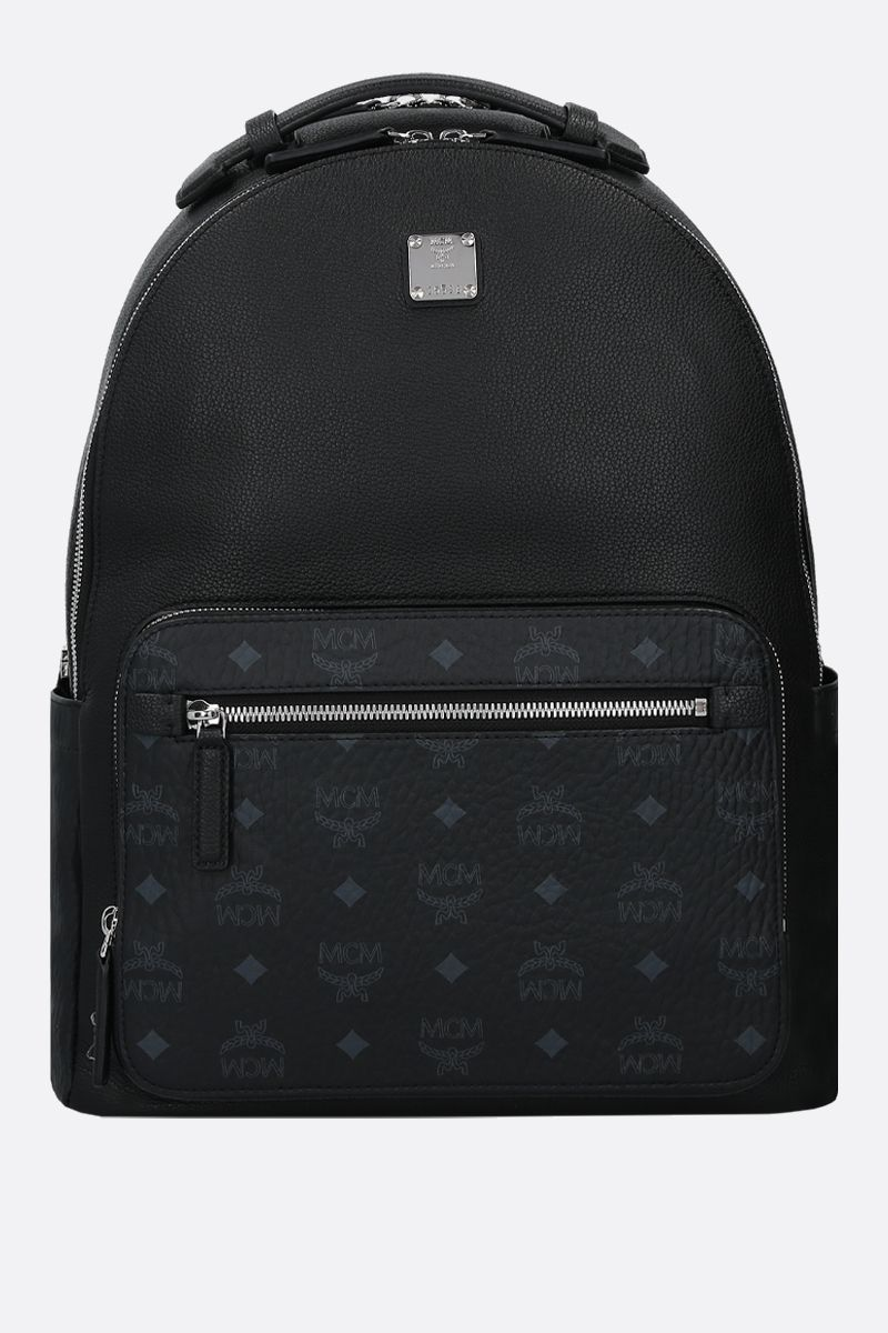 MCM: Stark backpack in grainy leather and coated canvas Color Black_1