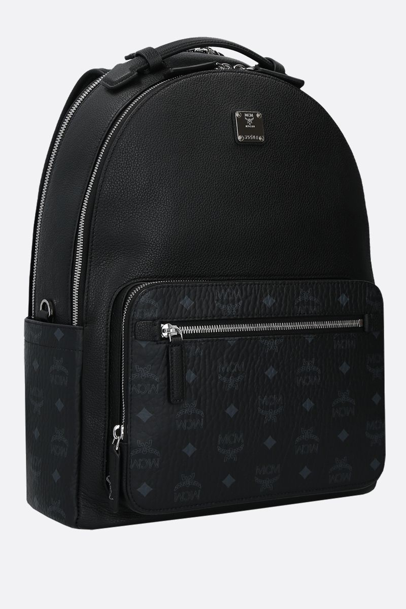 MCM: Stark backpack in grainy leather and coated canvas Color Black_2