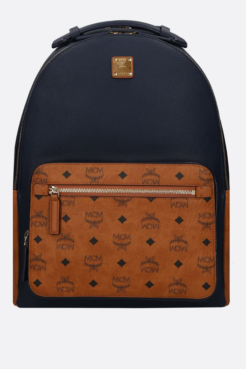MCM: Stark backpack in grainy leather and coated canvas_1