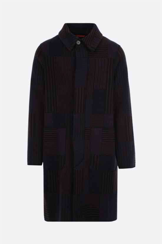 MISSONI: single-breasted wool knit coat Color Blue_1