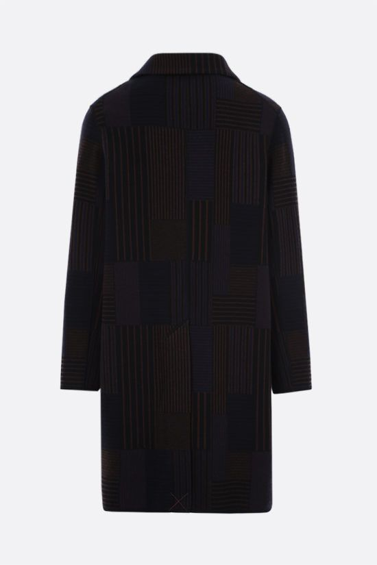 MISSONI: single-breasted wool knit coat Color Blue_2