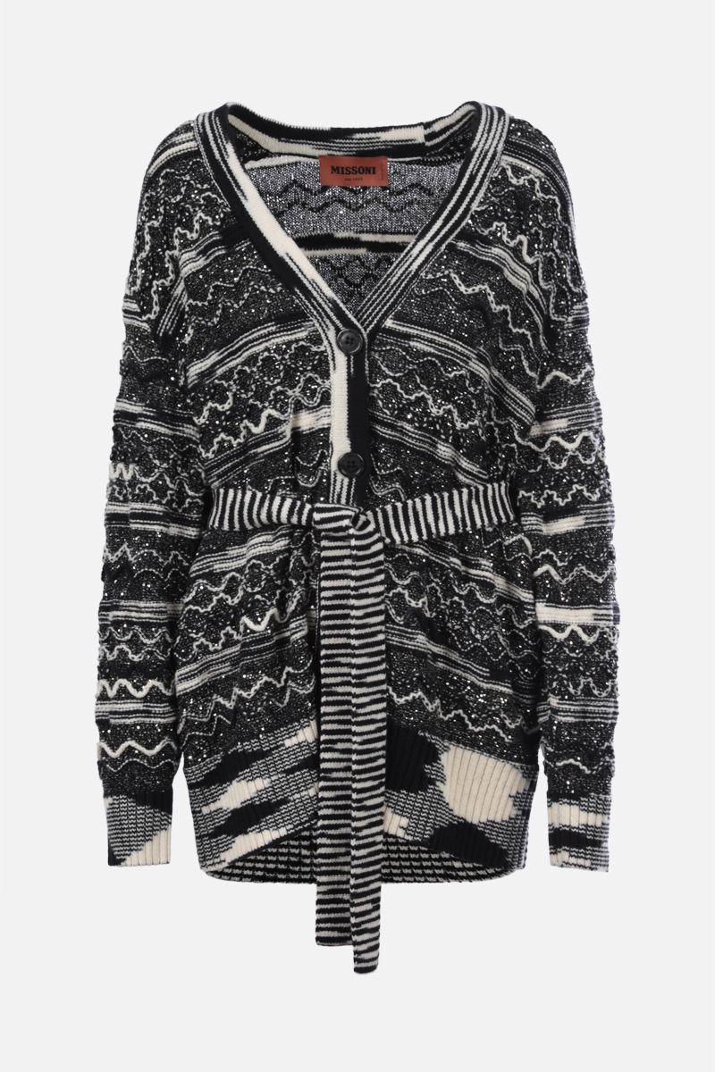 MISSONI: oversize belt-detailed wool blend cardigan Color Multicolor_1