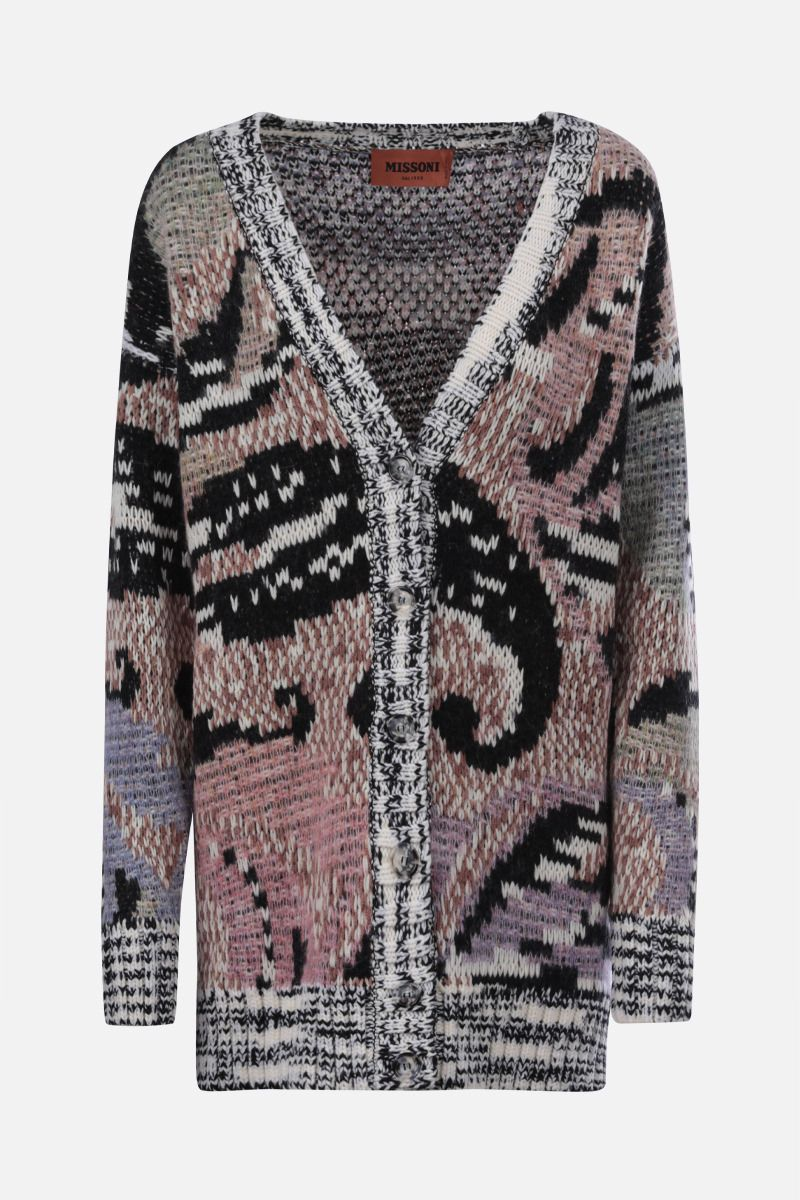 MISSONI: oversize jacquard wool blend cardigan Color Multicolor_1