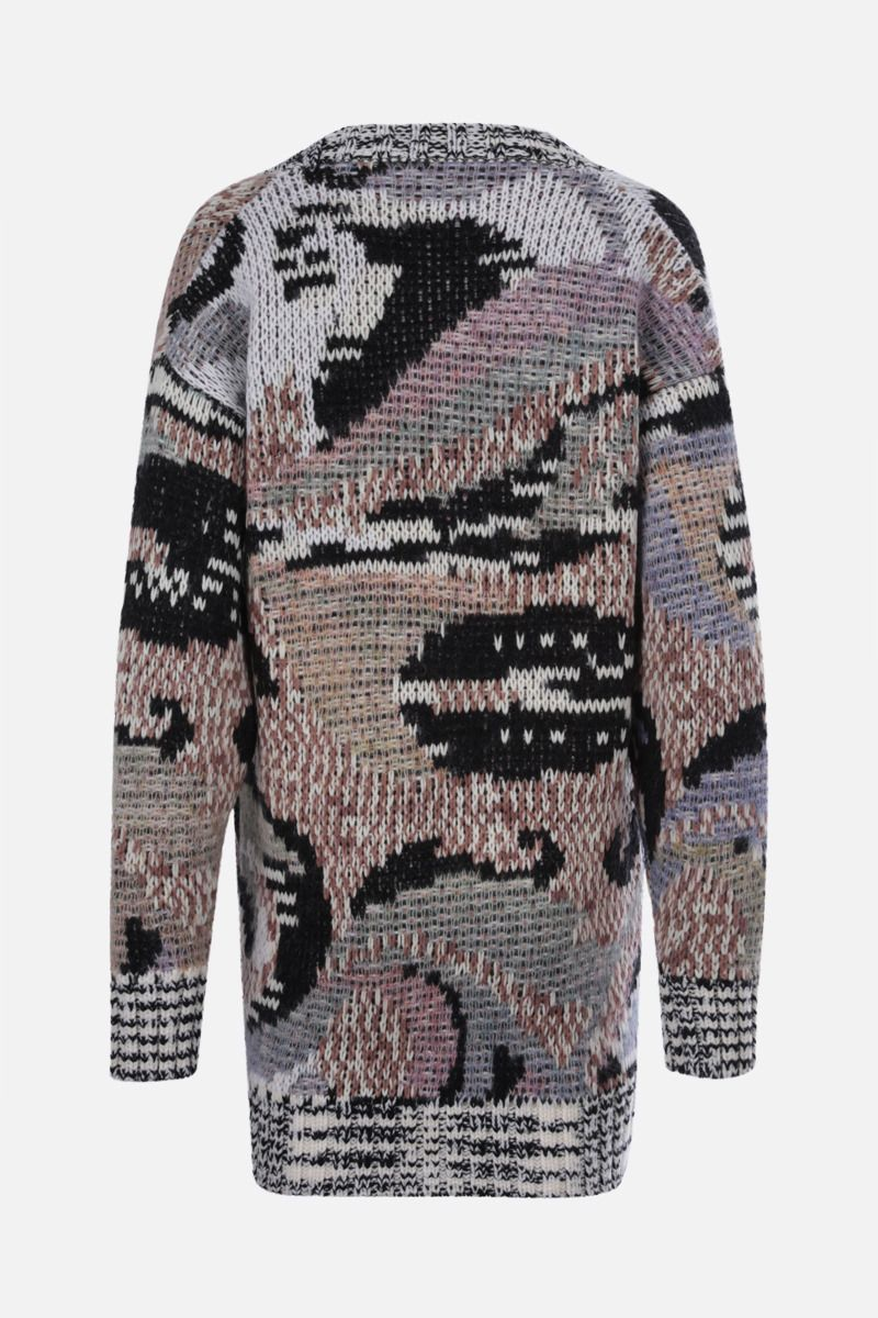 MISSONI: oversize jacquard wool blend cardigan Color Multicolor_2
