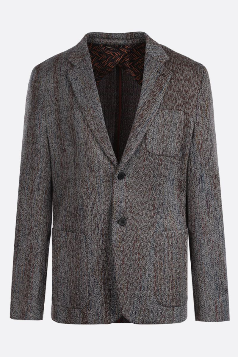 MISSONI: herringbone wool cotton blend single-breasted jacket Color Neutral_1