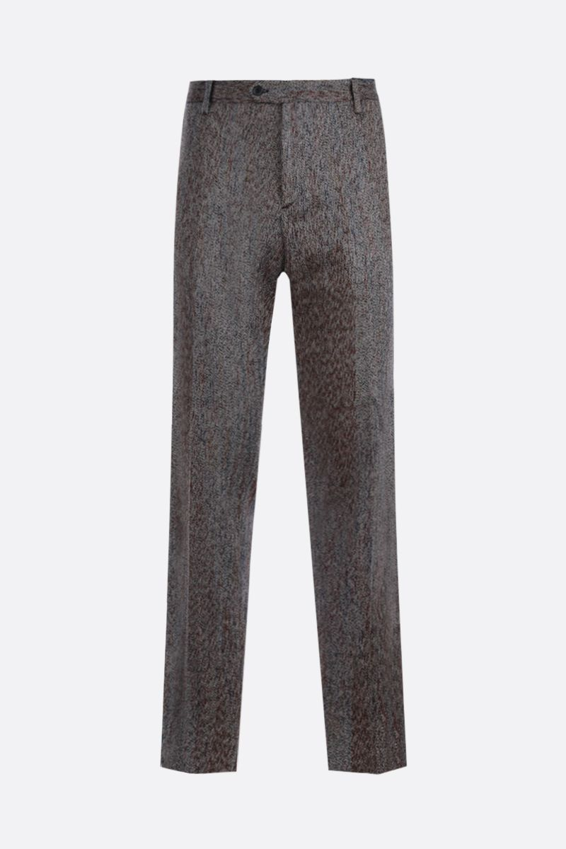 MISSONI: herringbone-motif wool cotton blend pants Color Multicolor_1