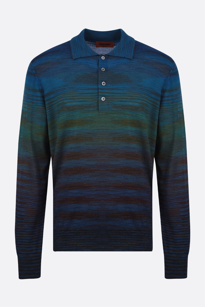 MISSONI: striped wool blend polo-style pullover Color Multicolor_1