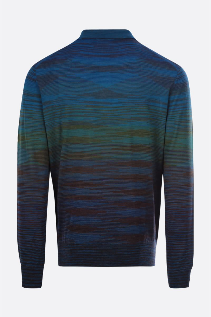 MISSONI: striped wool blend polo-style pullover Color Multicolor_2