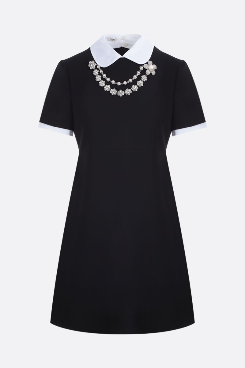MIU MIU: necklace-detailed faille cady minidress Color Black_1