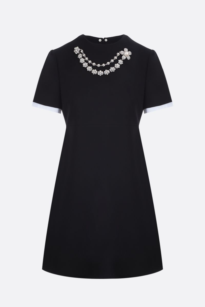 MIU MIU: necklace-detailed faille cady minidress Color Black_2