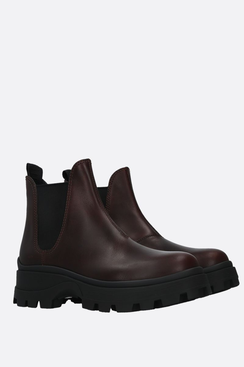 MIU MIU: smooth leather beatles boots Color Brown_2