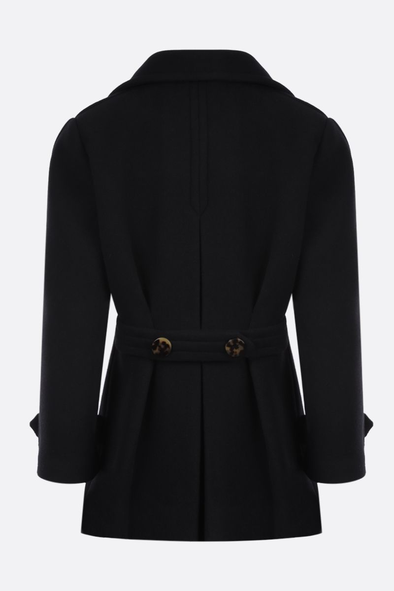 MIU MIU: double-breasted wool angora blend coat Color Black_2