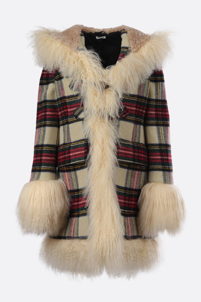 MIU MIU: fur trim-detailed check duffle coat Color Neutral_1