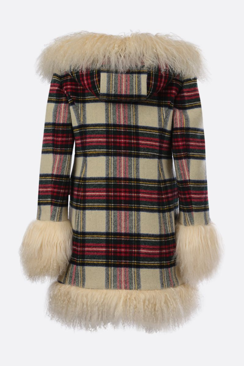MIU MIU: fur trim-detailed check duffle coat Color Neutral_2