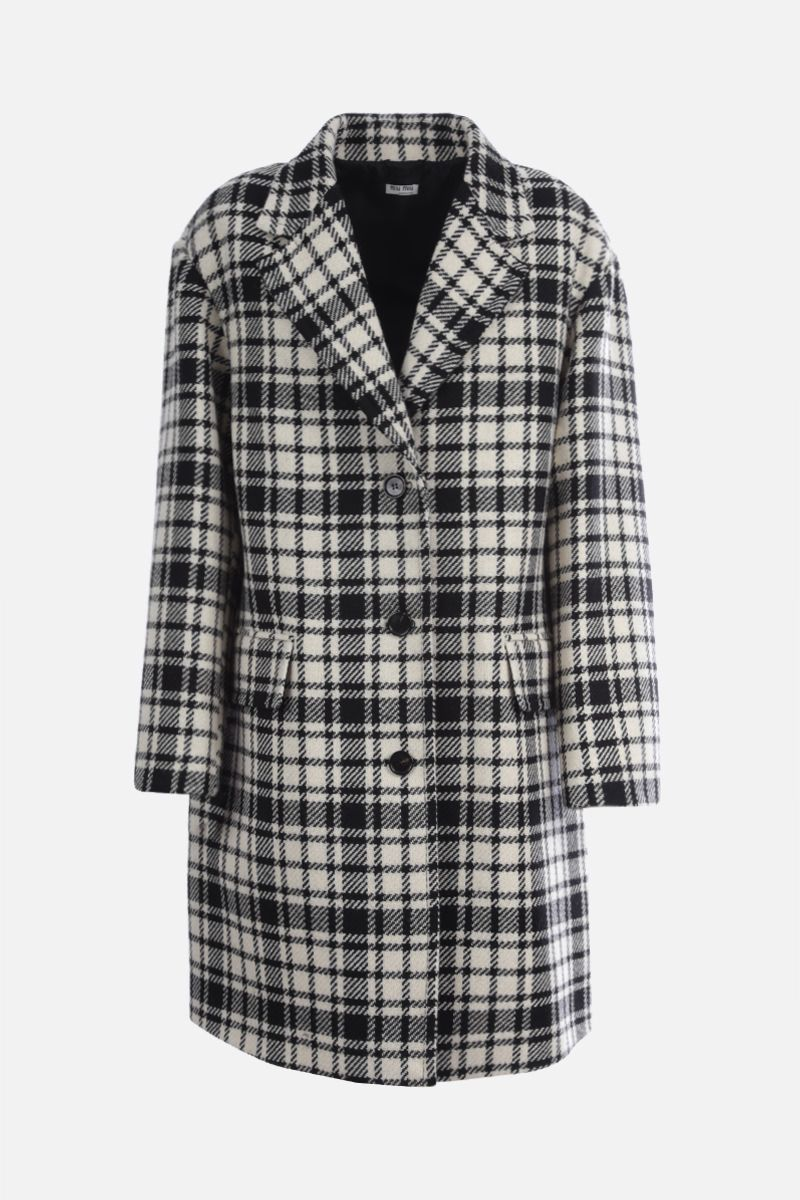 MIU MIU: check wool blend oversize single-breasted coat Color Black_1
