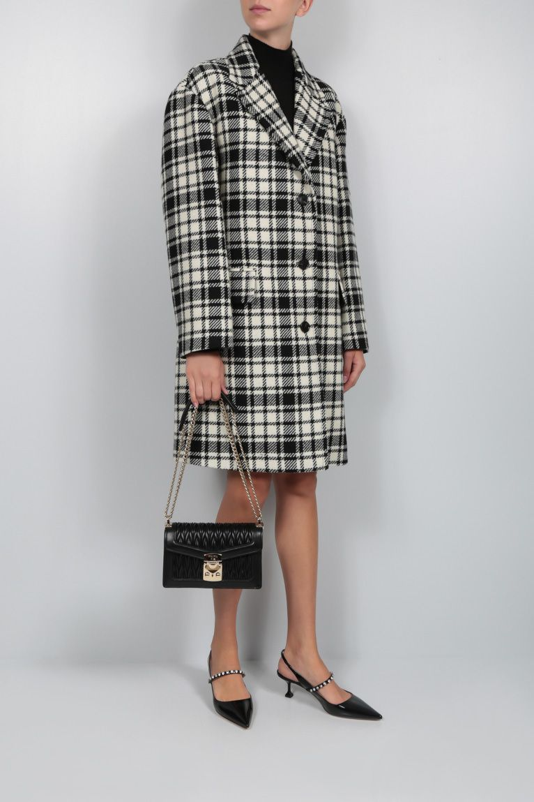 MIU MIU: check wool blend oversize single-breasted coat Color Black_2