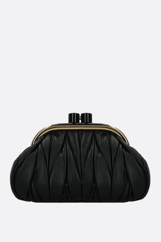 MIU MIU: quilted nappa chain clutch Color Black_1