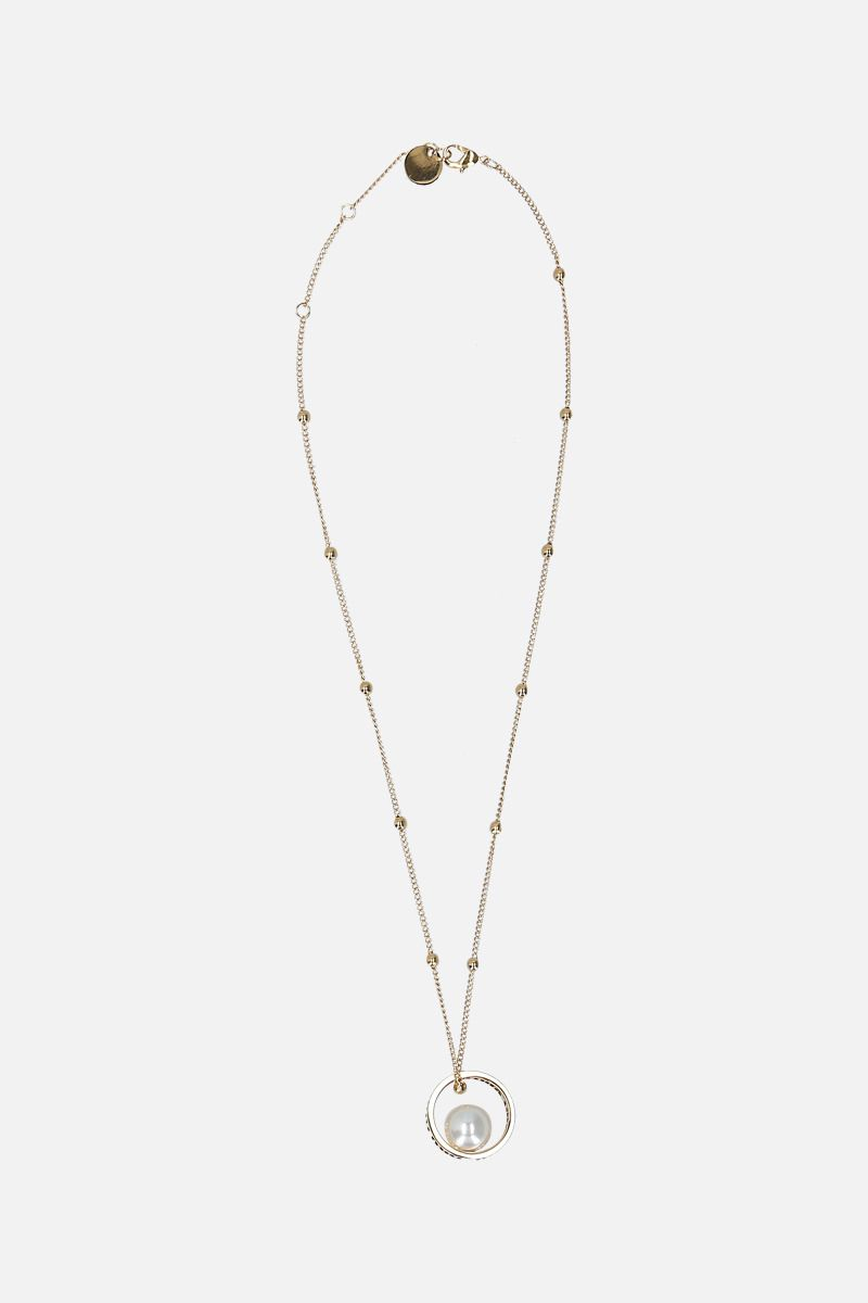 MIU MIU: logoed pendant-detailed metal necklace_1