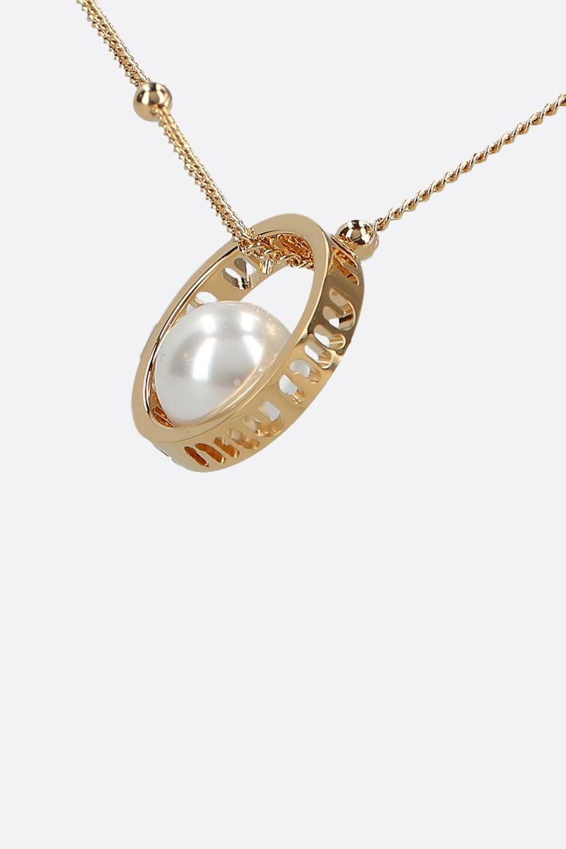 MIU MIU: logoed pendant-detailed metal necklace_2