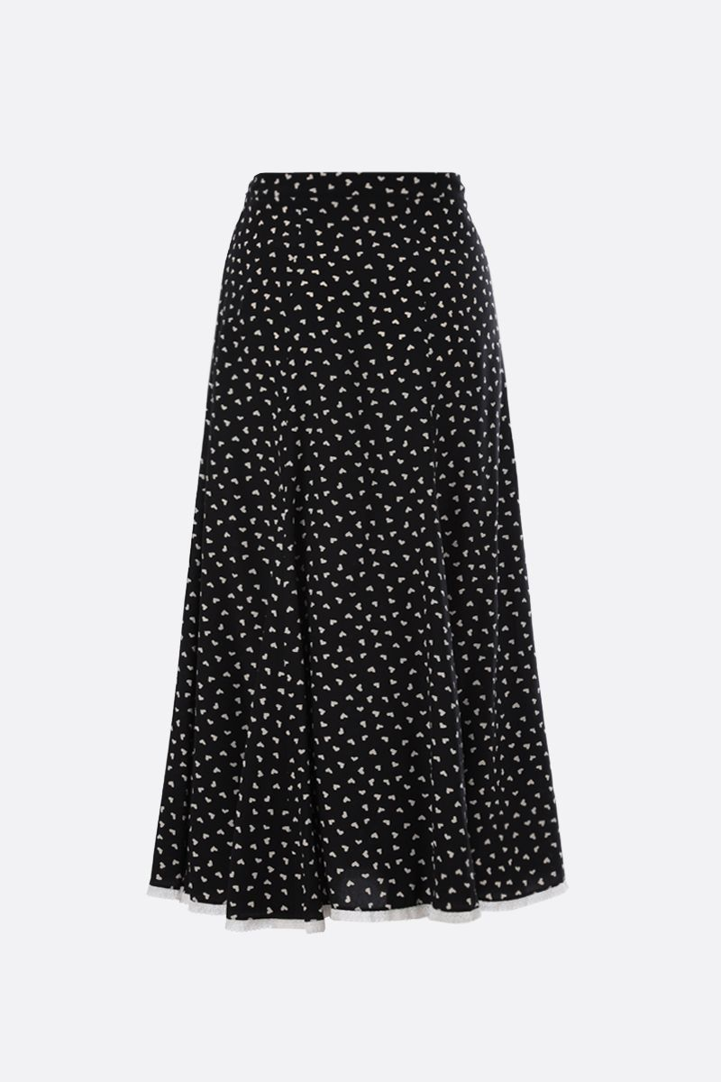 MIU MIU: hearts print crepe de chine midi skirt Color Black_1