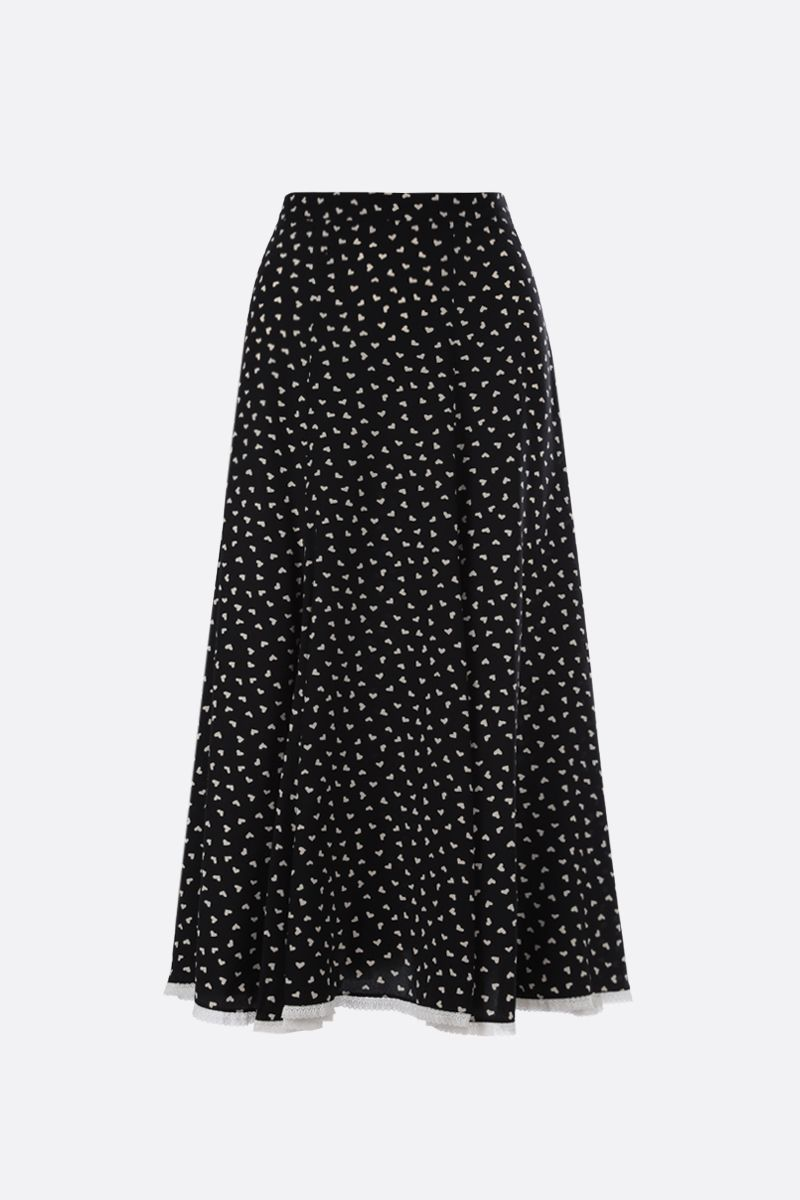 MIU MIU: hearts print crepe de chine midi skirt Color Black_2