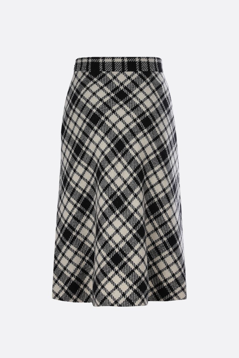 MIU MIU: check wool blend A-line skirt Color Black_1