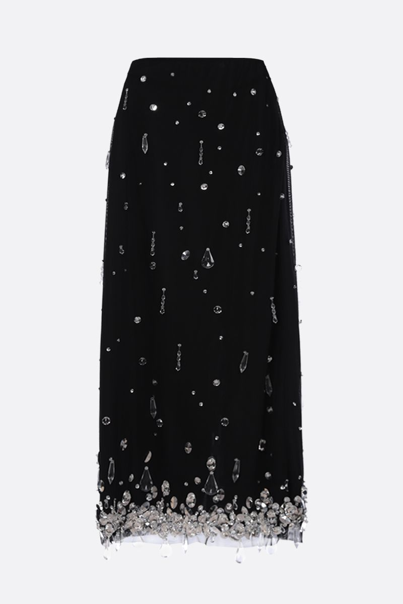 MIU MIU: crystal-embellished stretch tulle midi skirt Color Black_1