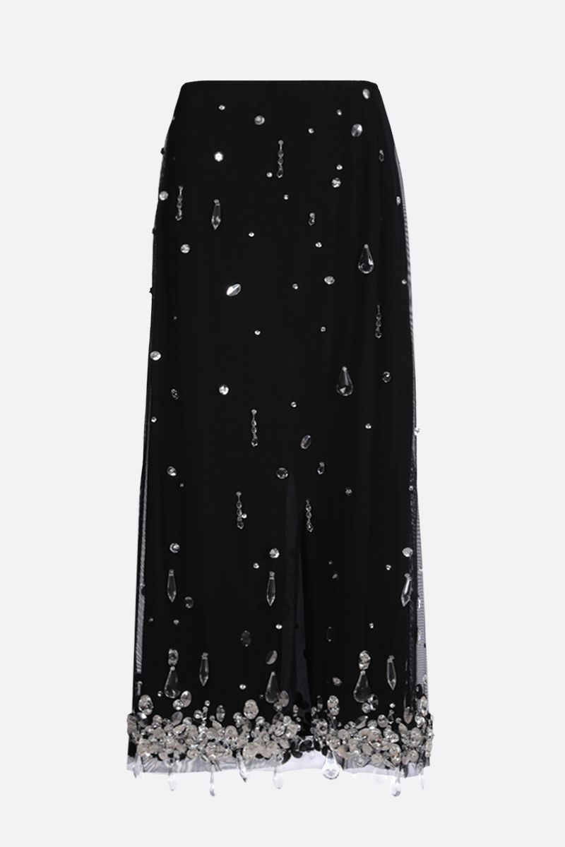 MIU MIU: crystal-embellished stretch tulle midi skirt Color Black_2
