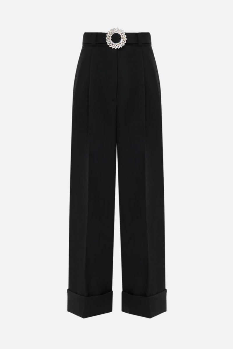 MIU MIU: belt-detailed stretch wool wide-leg pants Color Black_1