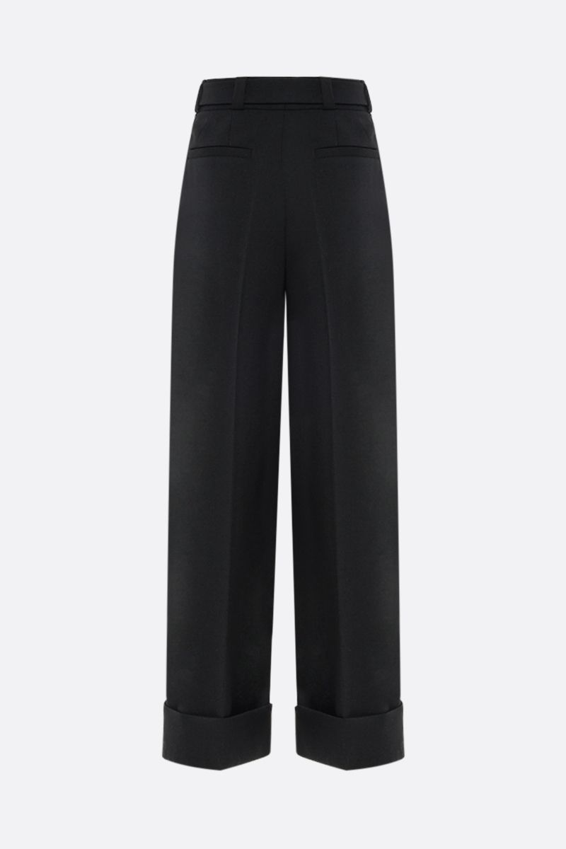 MIU MIU: belt-detailed stretch wool wide-leg pants Color Black_2
