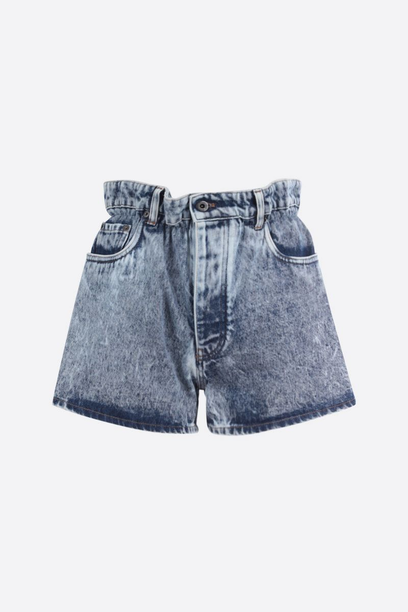 MIU MIU: shorts paper bag in denim Colore Blu_1