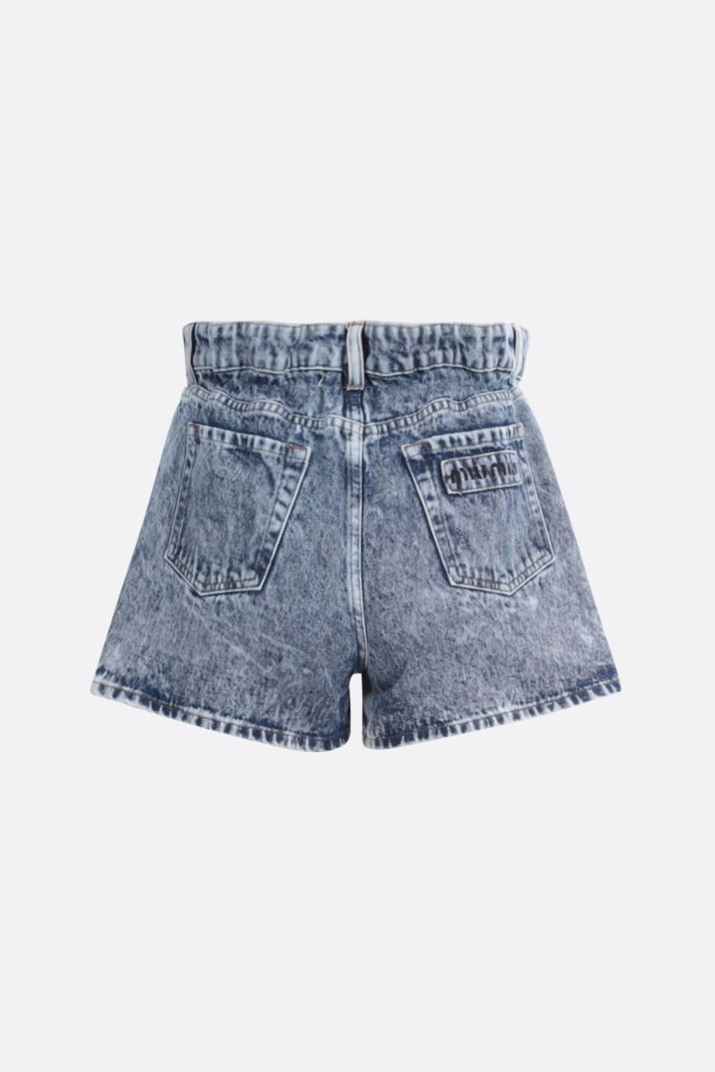 MIU MIU: shorts paper bag in denim Colore Blu_2