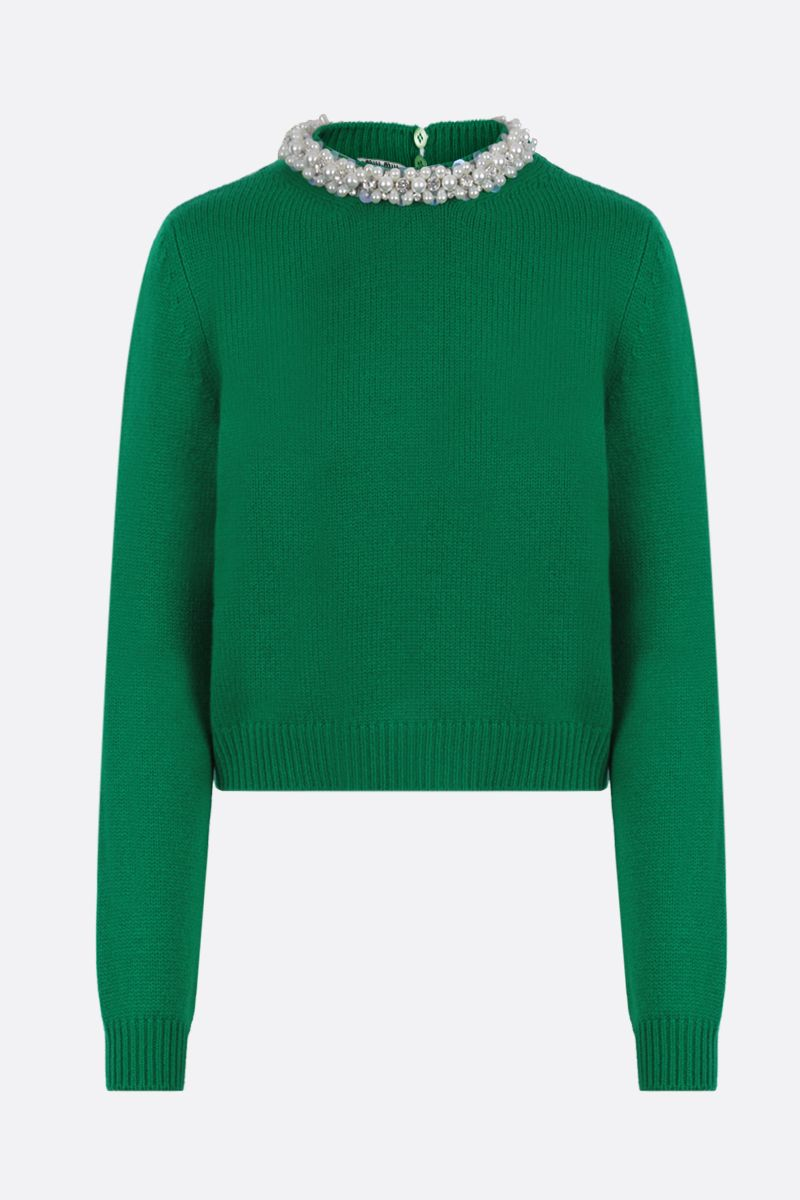 MIU MIU: pearl-embellished cashmere cropped pullover Color Green_1
