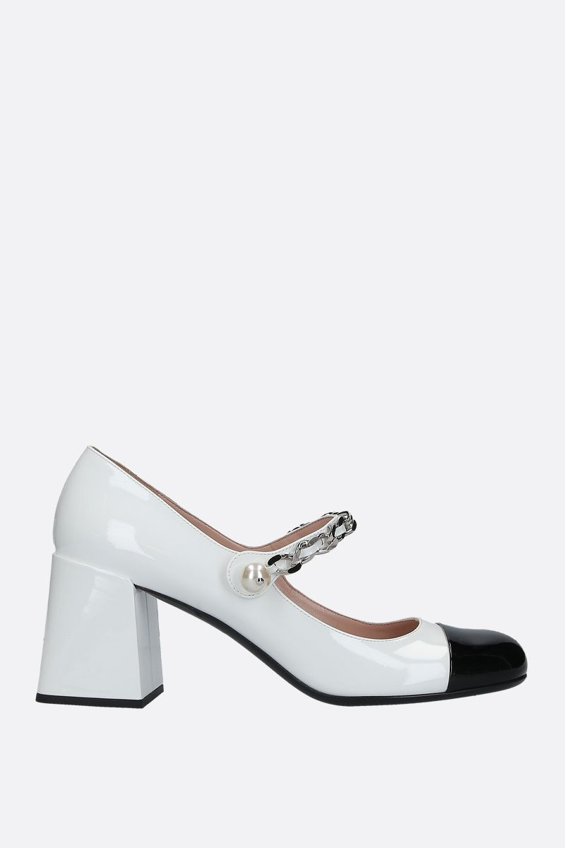 MIU MIU: bicolour patent leather mary-jane pumps Color White_1