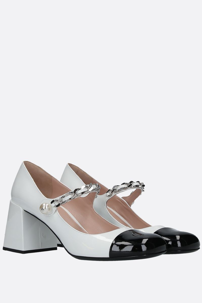 MIU MIU: bicolour patent leather mary-jane pumps Color White_2