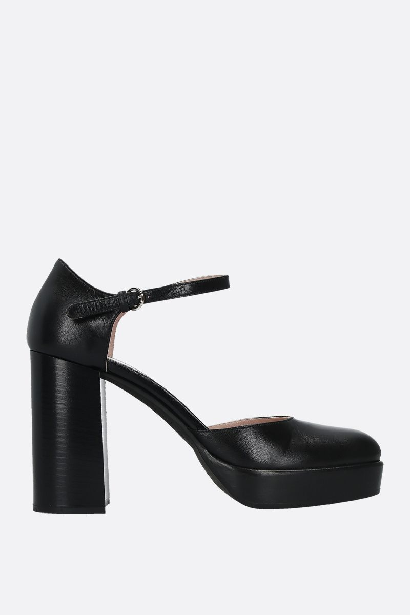 MIU MIU: smooth leather mary jane pumps Color Black_1