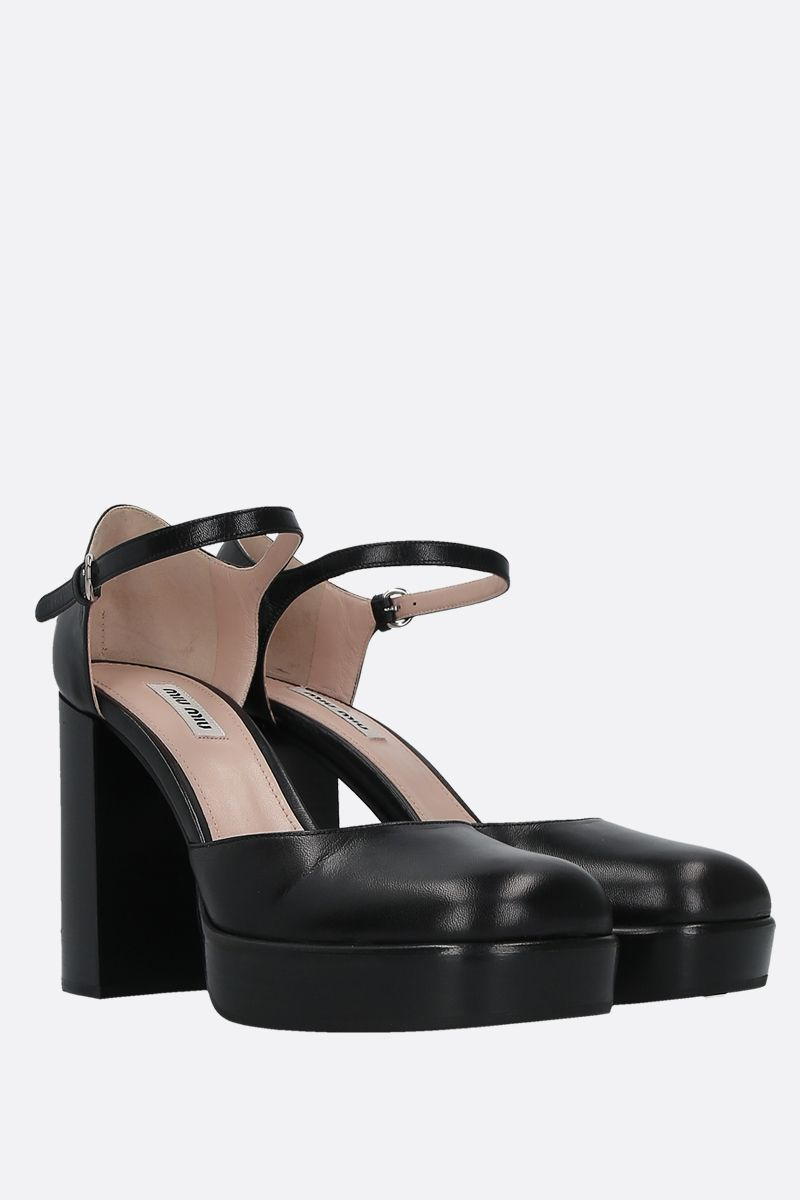 MIU MIU: smooth leather mary jane pumps Color Black_2