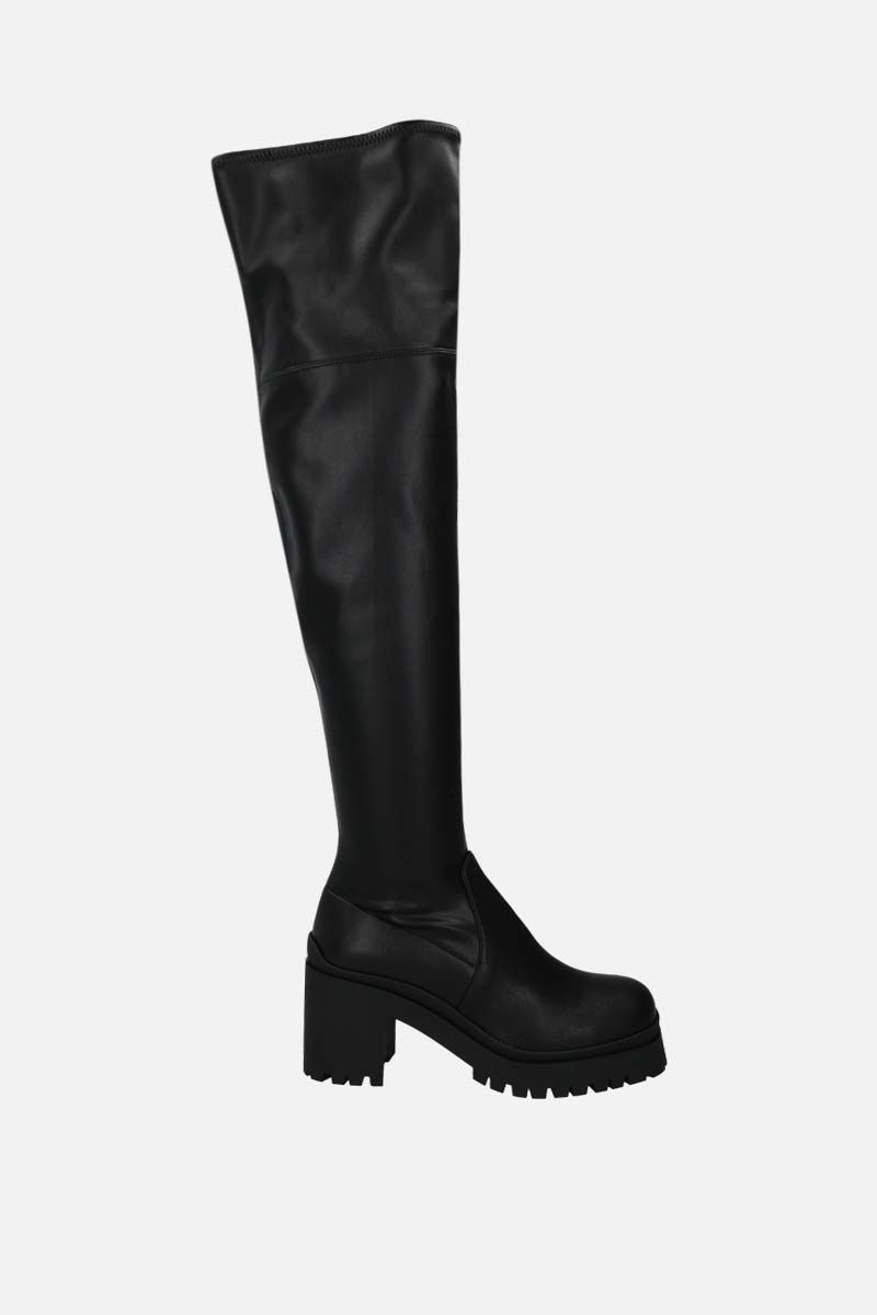 MIU MIU: stretch faux leather over-the-knee boots Color Black_1